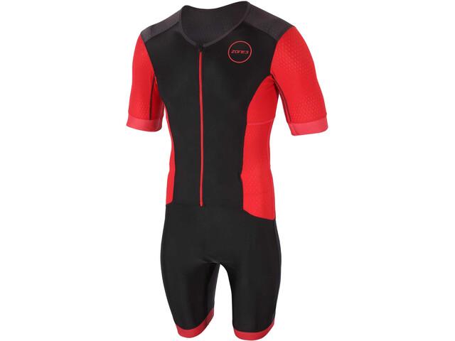 Zone3 Aquaflo Plus Korte mouwen doorlopende Rits Heren, black/red